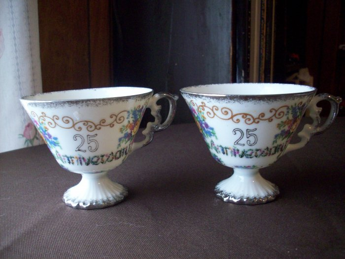 25th Anniversary Porcelain Cups  Set of 2