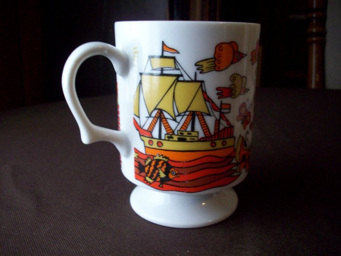 Vintage Porcelain Cup   Ship and Windmill