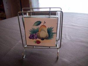 Vintage Ucagco Wire Framed Tile Napkin Holder