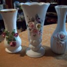 Set of Three Flowered Porcelain Bud Vases