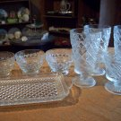 Seven Vintage Clear Glass Dessert Glasses and One Glass Tray