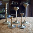 Lot of Five Brass Candle Holders