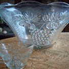 Glass Punch Bowl w/ 12 Matching Cups