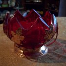 Ruby Red Glass and Copper Dish