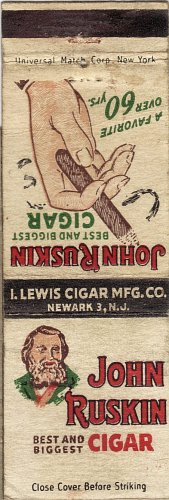 John Ruskin Cigar Matchbook Cover