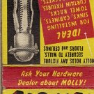 Molly Screw Anchors Matchbook Cover