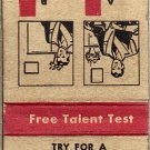 Free Talent Test Matchbook Cover