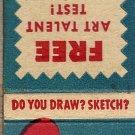Free Art Talent Test Matchbook Cover