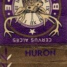 Huron Lodge 444 B.P.O. Elks Huron, SD Matchbook Cover