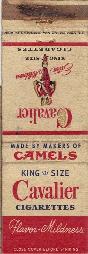 King Size Cavalier Cigarettes Matchbook Cover