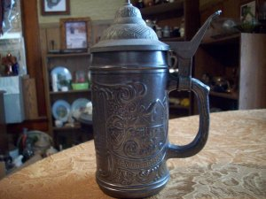 Pewter and Glass Stein