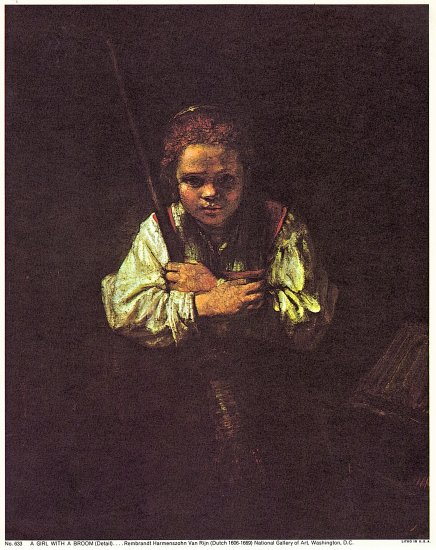 A Girl With A Broom Lithograph by Rembrandt Harmenszohn ...