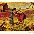 Woman At The Pump Postcard by Harvey Dunn