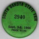 1966 South Dakota State Fair Admission Button