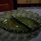 Divided Green Glass Relish Tray