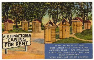 Vintage 1940's Postcard  Air Conditioned Cabins For Rent