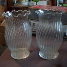 Pair of Clear Glass Ribbed Vases