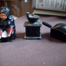 Lot of Three Cast Metal Salt and Pepper Shakers