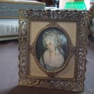 Vintage Cast Metal Frame and Picture Mrs. Chaplin by George Romney