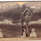 Antique Stereoscope Card Devout Peasants in the Bavarian Alps, Tyrol, Austria