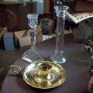 Lot of Three Glass and Brass Candle Holders