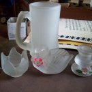 Lot of 4 Pieces of Frosted Glass