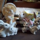 Lot of 5 Ceramic and Resin Rabbits