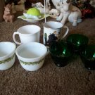 Lot of 7 Cups (Pyrex, Corning, Green Glass and Norman Rockwell)