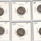 Lot of Six Buffalo Nickels (3) 1936 and (3) 1937