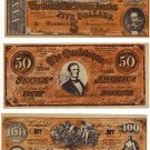 Lot of Three Vintage Facsimile Confederate Notes ($5, $50, and $100)