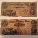 Two Charleston SC $20 Farmer's & Exchange Notes From the 1800's