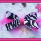 Zebra Feather Hairbow