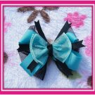 Black and turquoise hairbow