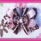 Pink and Brown Hairbow