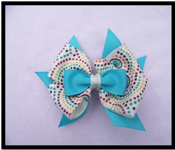 Aqua Bow with Tan and polka dots