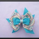 Aqua Bow with Tan and polka dots