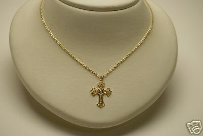 GOLD TONE METAL CROSS CRUCIFIX NECKLACE JEWELRY