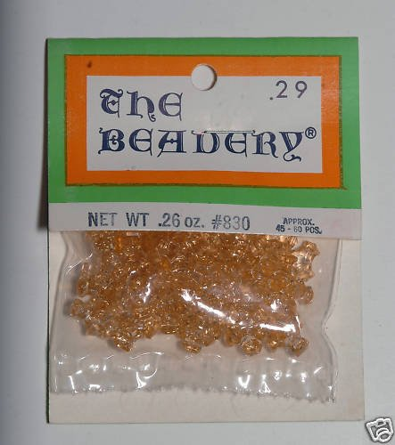 Vintage Clear Yellow Plastic The Beadery Beads Packaged