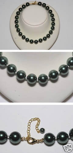 GREEN GLASS FAUX PEARL STRAND CHOKER NECKLACE JEWELRY