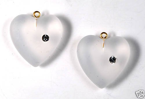 VINTAGE FROSTED GLASS RHINESTONE HEART PENDANT JEWELRY