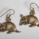 VINTAGE ARMADILLO EARRINGS TEXAS JEWELRY GOLD TONE