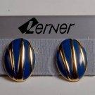 LERNER  VINTAGE EARRINGS JEWELRY PIERCED BLUE GOLD TONE