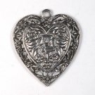 SILVER TONE METAL VINTAGE HEART CHARM PENDANT JEWELRY