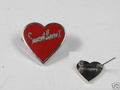 VINTAGE SILVER TONE RED ENAMEL HEART SWEETHEART PIN