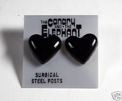THE CANARY AND ELEPHANT BLACK HEART EARRINGS JEWELRY