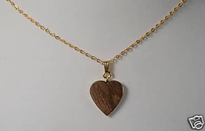WOOD GRAIN HEART GOLDTONE NECKLACE VINTAGE JEWELRY