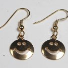VINTAGE SMILEY FACE GOLD TONE EARRINGS JEWELRY