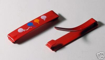 RED BALLOON CHILDS METAL BARETTES VINTAGE HAIR PIECES