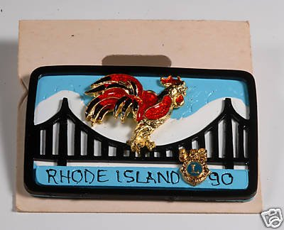 LIONS CLUB RHODE ISLAND RARE  PIN PLATE JEWELRY ROOSTER