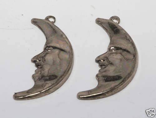VINTAGE PAIR GOLD TONE CRESENT MOON MAN ON MOON PENDANT